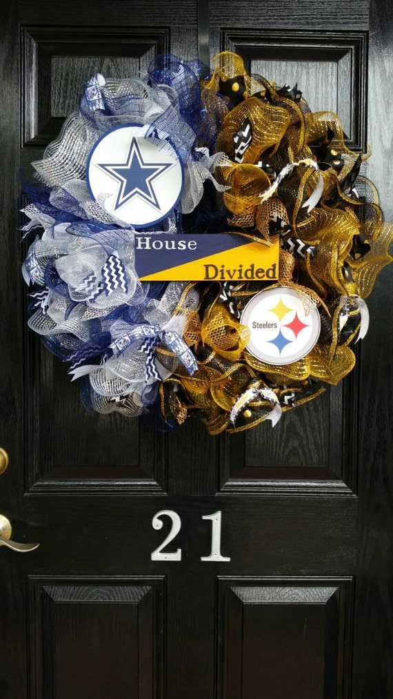 Large House Divided Sign Mesh Burlap Ribbon By