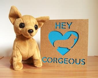 Corgi Card, Corgi Valentines Card, Corgi Anniversary Card, Valentines Card, Anniversary Card, Welsh Corgi, Corgi Paper Cut, Corgi Lover