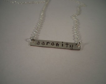 Serenity, Bar Necklace, Hand Stamped Necklace