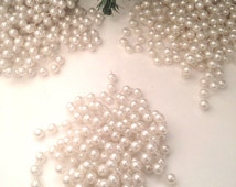 "just over 29' (352"") pearly white Christmas garland, 3 round bead strands totaling approx 29'; yesteryears shabby chic Victorian decor"