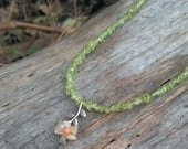 Peridot necklace with citrine and agate daisy pendant