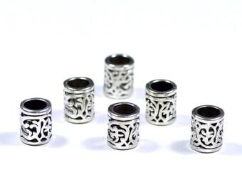 6 Tibetan Silver Dreadlock Beads 6mm Big Hole Beads Dreads Hair Accessories