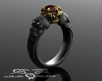 Skull engagement ring with red diamond in solid blackened 14kt gold. Gothic engagement ring. Shared breath. Spooky Jewelry. Amethyst Eyes