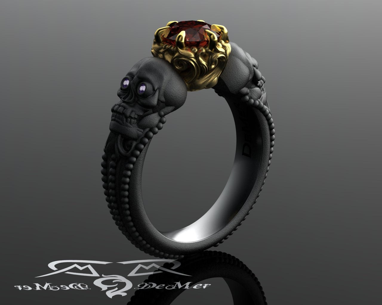 Skull Engagement Ring With Red Diamond In Solid Blackened 14kt