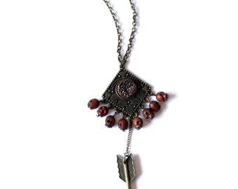"Necklace ""BROWN ARROW TALISMAN"""