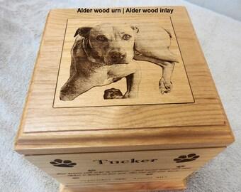 Large Dog Urn - Pet Urn Laser Engraved Alder Wood
