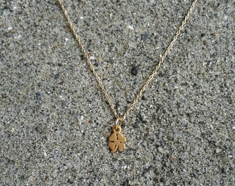 Tiny gold shamrock necklace, gold clover, small gold necklace, shamrock pendant, 4 leaf clover necklace