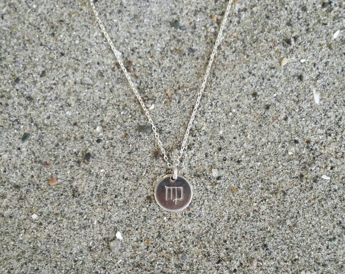 Tiny, Silver Zodiac Necklace, Birthday Sign Necklace, Simple