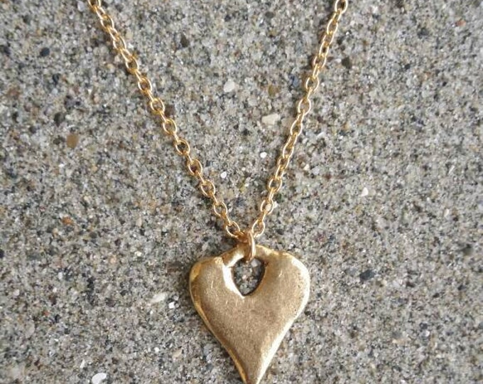 Gold Heart Necklace, Monogram Necklace, Initial Necklace, Rustic Heart, Gold necklace, Small Heart Necklace, Modern Heart