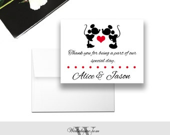 Mickey and Minnie Magnet Wedding Favors, Disney Wedding Favors, Mickey and Minne Weddings - Envelopes Included