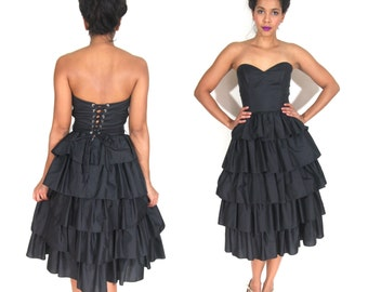Vintage 80s Black Ruffled Tiered Corset Lace Up Strapless Party Dress Glam Goth