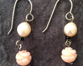 White Pearl and Pale Coral Earrings