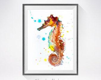 Seahorse watercolor painting print, Seahorse art, animal watercolor, animal illustration, Sea art, turtle print, animal  art