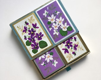 Pretty flowers playing cards - double deck, full set, purple white violets, midcentury, flocked box, party wedding invitations favours