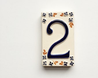 Vintage ceramic tile Number 2 two - house, pottery, shabby chic, French, English, country cottage, door number furniture, white blue floral
