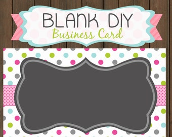Business card digital graphic instant download DIY template spring polkadots - 139