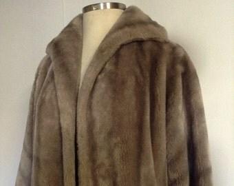 Vintage Fur Coat Taupe Faux Fur Swing Coat No. 9