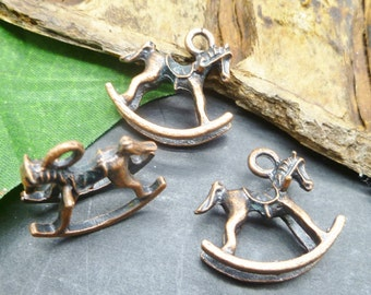 Copper Baby Rocking Horse Charms - 3D Charms - New Baby Theme -MC0681