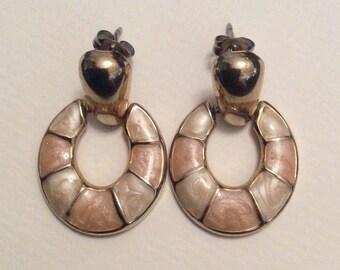 1980s Peach and White Enamel Pierced Earrings