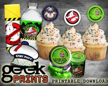 Ghostbusters Favors Kit with Proton Stream Favor Tags Printable