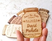 Wood Save-the-Date magnets, mason jar magnets, wooden save the date magnets, engraved magnets, rustic save the dates
