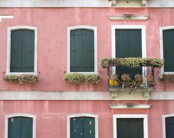 Venice Pink Building - Green Doors - Windows - Doors - Architecture - Venice, Italy - Travel - Europe - Photography - Home Decor