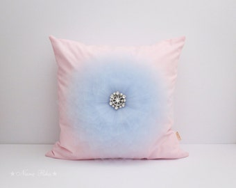 Pink Nursery Pillow Decorative Pillow Flower Pillow Cover Pink and Blue Shabby Pillow Nursery Pillow Throw Pillow Pink Pillow Cushion Cover