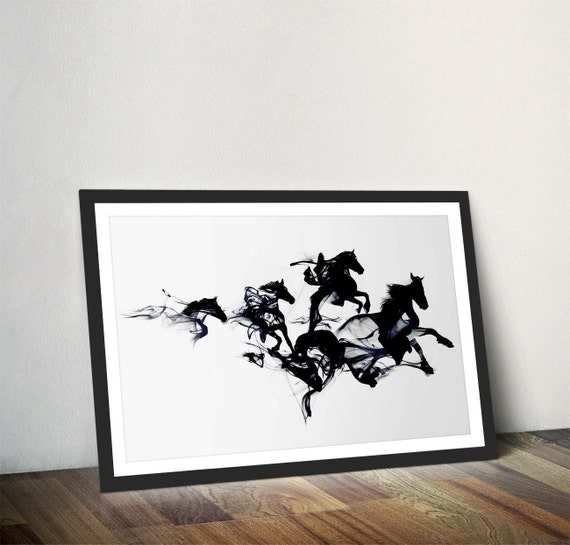 Wall Art Black Horse : Black horses print wall decor art pony