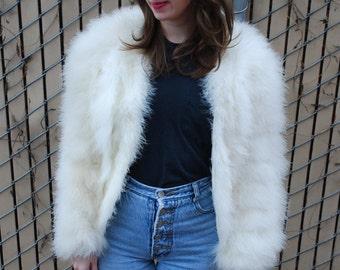 Vintage White Marabou Feather Jacket