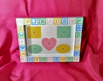 "Baby Picture Frame For Multiple Pictures - Colorful Wooden Play Blocks - ""Jesus Loves Me"" - Babys Room, Nursery Decor"