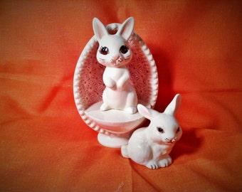 Set of 3 Easter Figurines - Pair of Vintage Bunny Rabbit with Easter Egg Platform, Stage - Springtime Decor