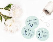 Anchor Wedding Favor Tags, Personalized Favor Tags, Nautical Wedding, Navy Blue Anchor Tags, Thank You Tag