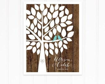 Guest Book Tree, Wood Guestbook for Rustic Wedding, Wood Guest Book in Turquoise