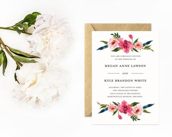 Wedding Invitation, Classic Invitation Suite with Watercolor Flowers, Unique Wedding Invitation Set