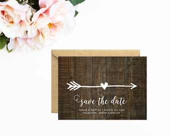 Wood Save The Date, Arrow Save The Date, Arrow Wedding, Rustic Wood Save The Date