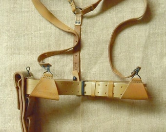 Cool Vintage Steampunk Style Leather Military Suspenders Utility Belt and Pouch - Military Surplus - French Foreign Legion
