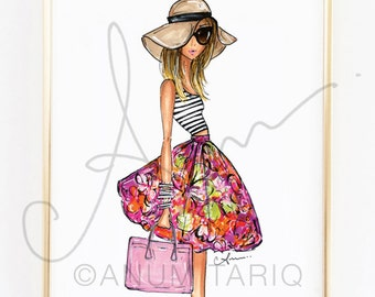 Fashion Illustration Print, Stripes + Floral, 8x10""