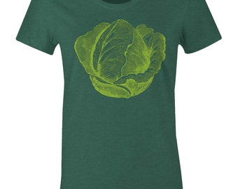 Women's Cabbage T Shirt - Vegetarian T Shirt - Veggie Tee - American Apparel Womens Poly Cotton T-Shirt - Item 2389