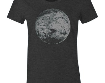 Women's Planet Earth T Shirt - Earth from Outer Space Print T Shirt - American Apparel Women's Poly Cotton T-Shirt - Gray Ink - Item 2409