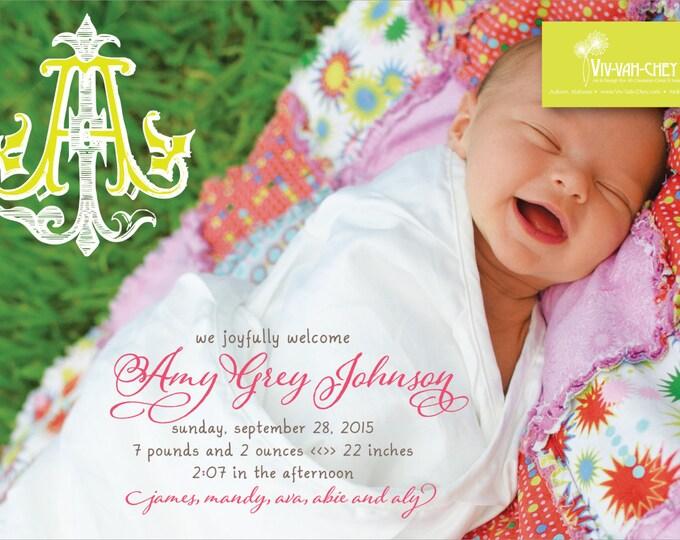 Bright Etched Monogram | Photo Birth Announcement