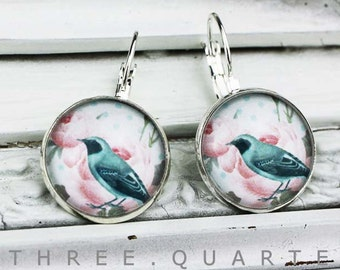 Earrings with birds, silver, shabby chic, bird, bridal jewelry, wedding, dots, polkadots, roses, earrings, gift, romantic, pink