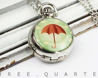 Umbrella, pocket watch, Cloud, chain watch, silver, watch chain, rain, vintage, silver, necklace, retro, Weather, nostalgic, shabby