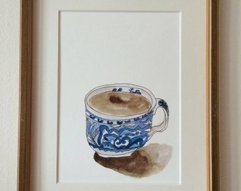 """Print of a drawing """"blue cup"""", A5, cup of coffee"""