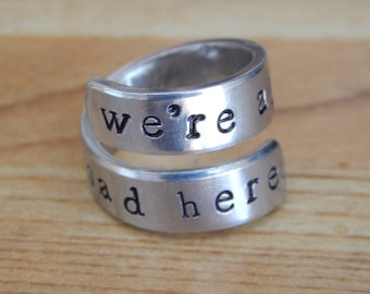 We're All Mad Here Wrap Ring - Alice in Wonderland Inspire - Gift Under 20