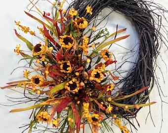 Sunflower Wreath, Fall Wreath, Autumn Wreath, Fall Door Decor, Sunflowers, Harvest Wreath, Fall Floral, Birch Wreath, Oval Wreath, Autumn