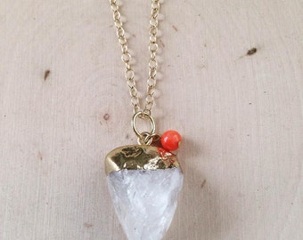 Crystal Necklace / Raw Crystal Quartz Necklace / Quartz Necklace / Crystal Quartz Necklace / Raw Uncut Stone, Natural Stone, Natural Jewelry