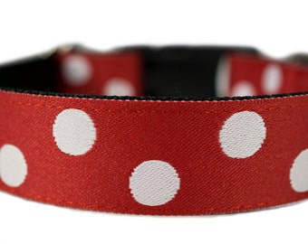 "Red Dog Collar 1"" Polka Dot Dog Collar Valentines Dog Collar"