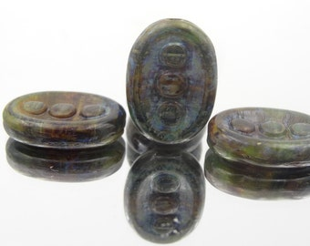 Oval Carved 3 Dot Glass Bead 17x14mm Picasso 6 Pieces.