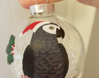 African Grey ornament hand painted