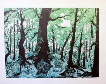 Large Forest Linocut Print Multicolored